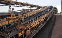 Le charbon est véhiculé sur site de stockage par tapis roulant.